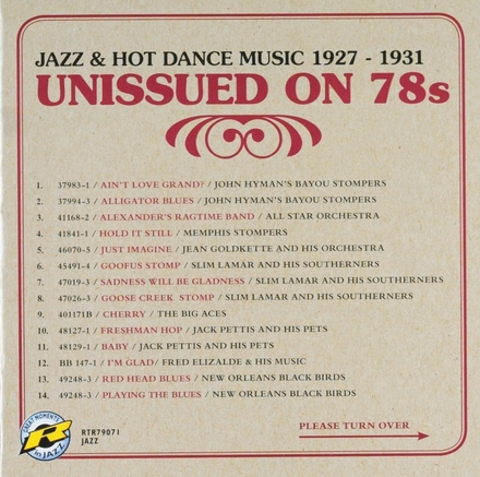 Jazz & hot dance music 1927-1931 : Unissued on 78s