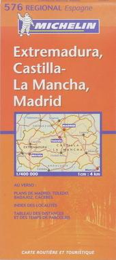Extremadura, Castilla-La Mancha, Madrid : carte routière et touristique