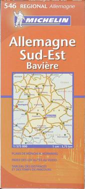 Allemagne sud-est, Bavière : carte routière et touristique