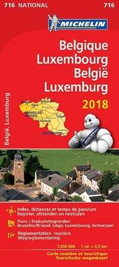 Belgique, Luxembourg : carte routière et touristique