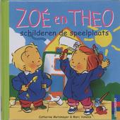 Zoé en Theo schilderen de speelplaats