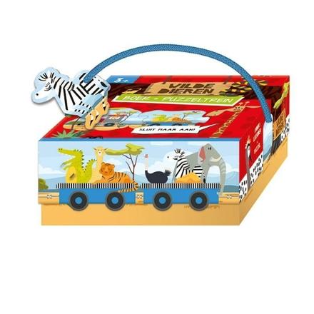 Wilde dieren : boek + treinpuzzel