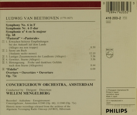 "Symphony no.6 in F, op.68 ""Pastoral"""