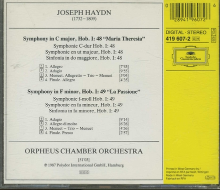 """Symphonie Hob.I:48 """"Maria Theresia"""""""