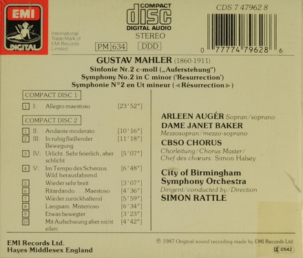"Symphony no. 2 in c minor ""Resurrection"""