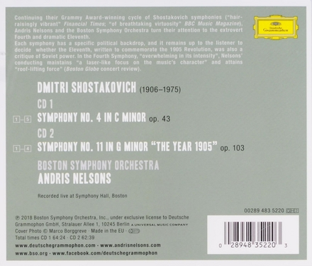 """Symphonies nos. 4 & 11 """"The Year 1905"""""""