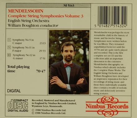 Complete string symphonies volume 3. vol.3