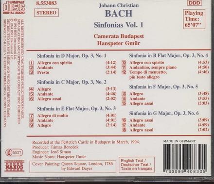 Sinfonias : sinfonias, op. 3, nos. 1-6. Vol. 1