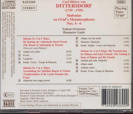 Sinfonias on Ovid's Metamorphoses nos.4-6