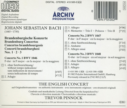 Brandenburgische Konzerte No. 1, 2, 3