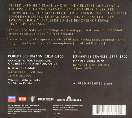 Alfred Brendel : live in Vienna