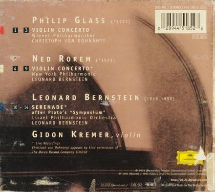 Glass, Rorem : violin concertos