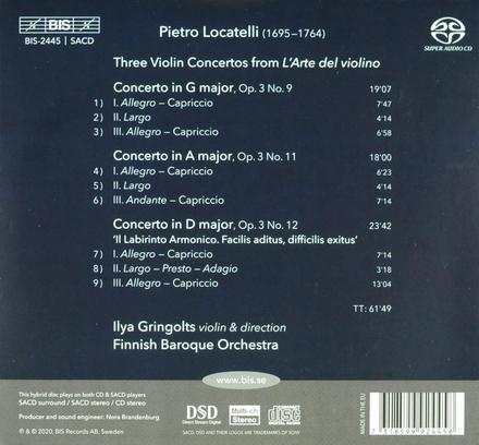 Il labirinto armonico : three violin concertos