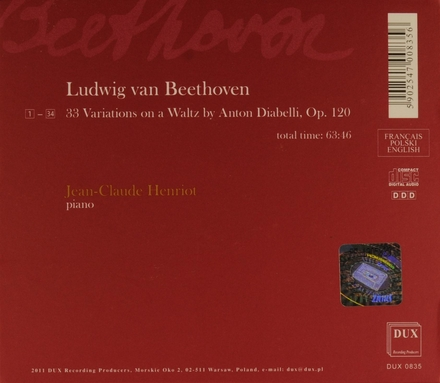 33 variations on a walz by Anton Diabelli, op.120