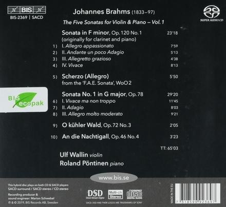 The five sonatas for violin & piano. Vol. 1