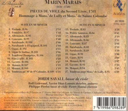 Pièces de viole du second Livre, 1701 : hommage à Mons. de Lully et Mons. de Sainte-Colombe