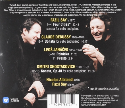 4 cities : cello sonatas : Say, Debussy, Janacek, Shostakovich