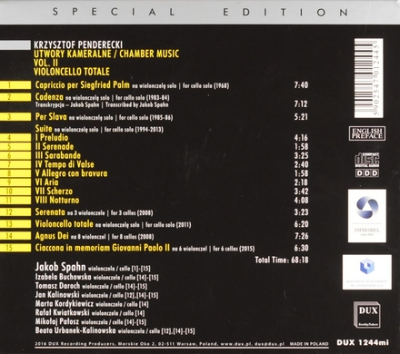 Chamber music. Vol. II, Violoncello totale