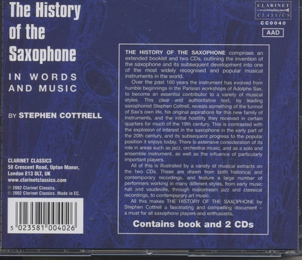 The history of the saxophone by Stephen Cottrell