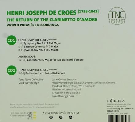 The return of the clarinetto d'amore : symphonies, concertos & partias