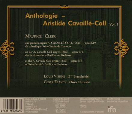 Anthologie : Aristide Cavaillé-Coll Vol.1. vol.1