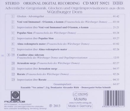 Adventliche Gregorianik, Glocken und Orgelimprovisationen aus dem Würzburger Dom