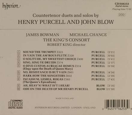 Countertenor duets and solos by Henry Purcell and John Blow