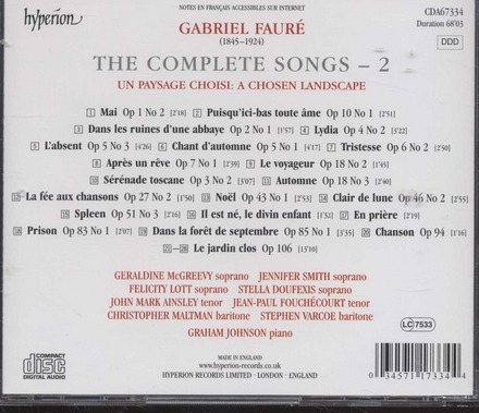 The complete songs. Vol.2, Un paysage choisi