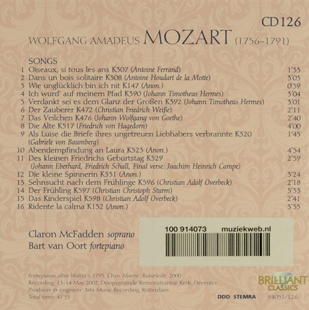Mozart complete edition. CD 126, Songs II