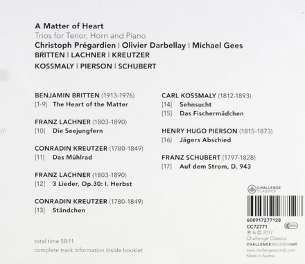 A matter of heart : Trios for tenor, horn and piano
