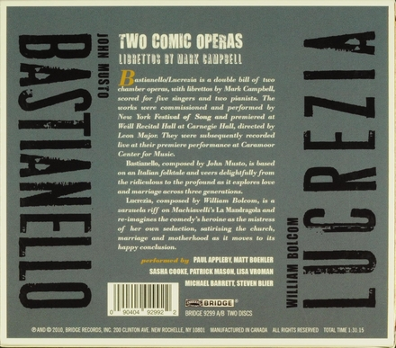 Two comic operas : Librettos by Mark Campbell