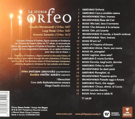 La storia di Orfeo : Monteverdi, Sartorio, Rossi