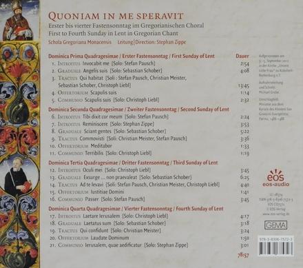 Quoniam in me speravit : Erster bis vierter Fastensonntag im Gregorianischen Choral