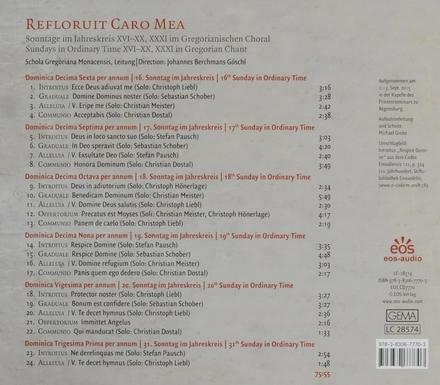 Refloruit caro mea : Sonntage im Jahreskreis XVI-XX und XXXI im Gregorianischen Choral