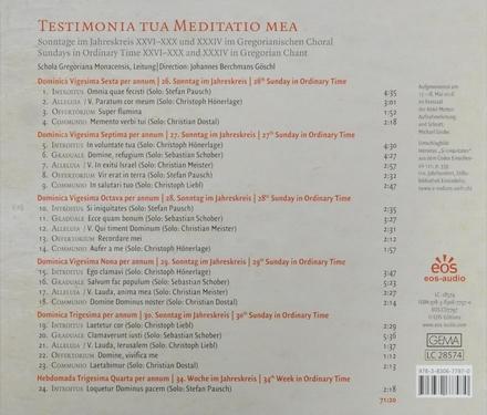 Sonntage im Jahreskreis XXVI-XXX und XXXIV im Gregorianischen Choral