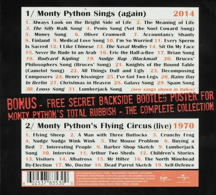 Monty Python sings (again) 2014 ; Monty Python's flying circus (live) 1970