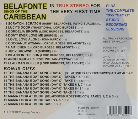 Belafonte sings of the Caribbean