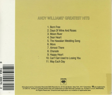 Andy Williams's greatest hits