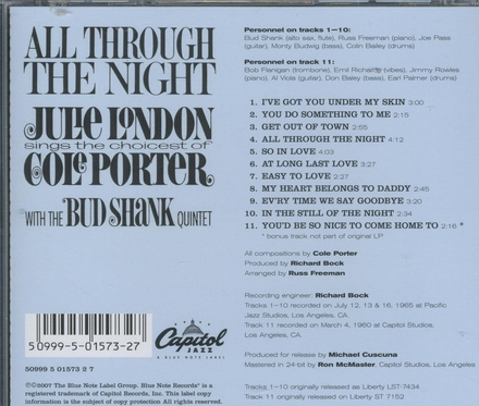 All trough the night : Julie London sings the choicest of Cole Porter