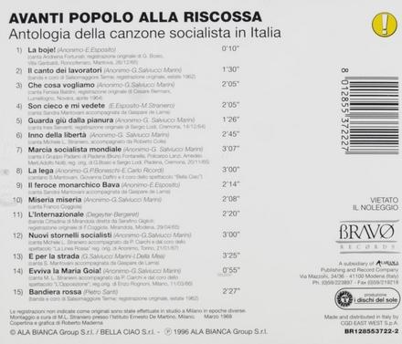 Avanti popolo alla riscossa : antologia della canzone socialista in Italia