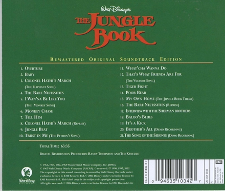The jungle book : remastered original soundtrack edition