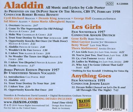 Aladdin ; Les girls ; Anything goes