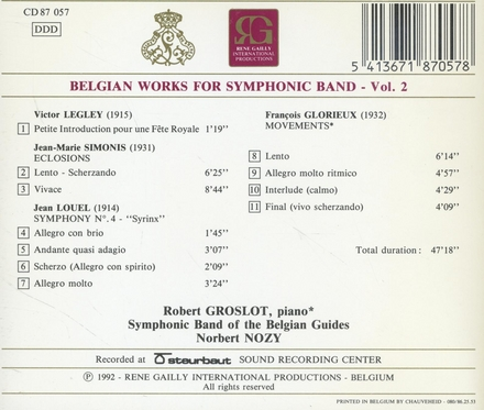 Belgian works for symphonic band. vol.2