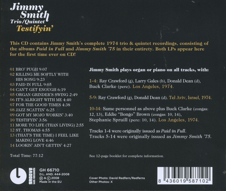 Testifyin' : Paid in full ; Jimmy Smith '75