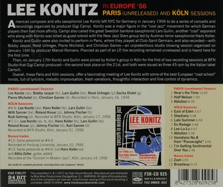 In Europe '56 : Paris (unreleased) and Köln sessions