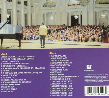 Chick Corea plays Mozart, Gershwin, Monk, Scarlatti, Evans, Jobim, Chopin, Scriabin, Wonder