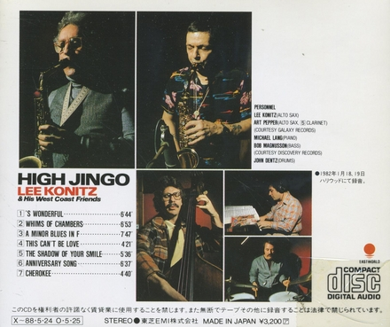 High jingo : Lee Konitz & his West Coast friends