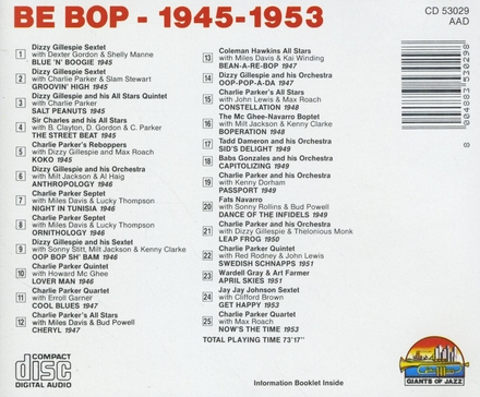 Be bop 1945 - 1953