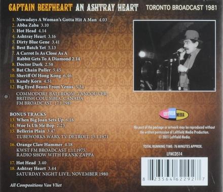 An ashtray heart : Toronto broadcast 1981
