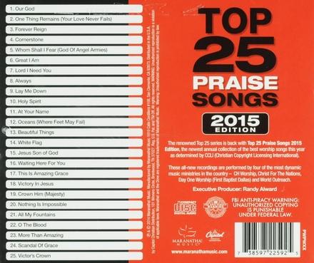 Top 25 praise songs : 2015 edition